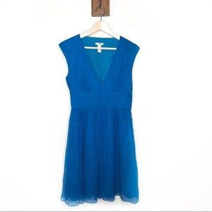 J. Crew blue silk chiffon v neck Abigail dress